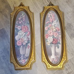 Vintage Thin Set of 2 Floral Wall Decor Pictures